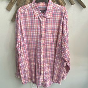 Vineyard Vines Murray Shirt pink blue plaid